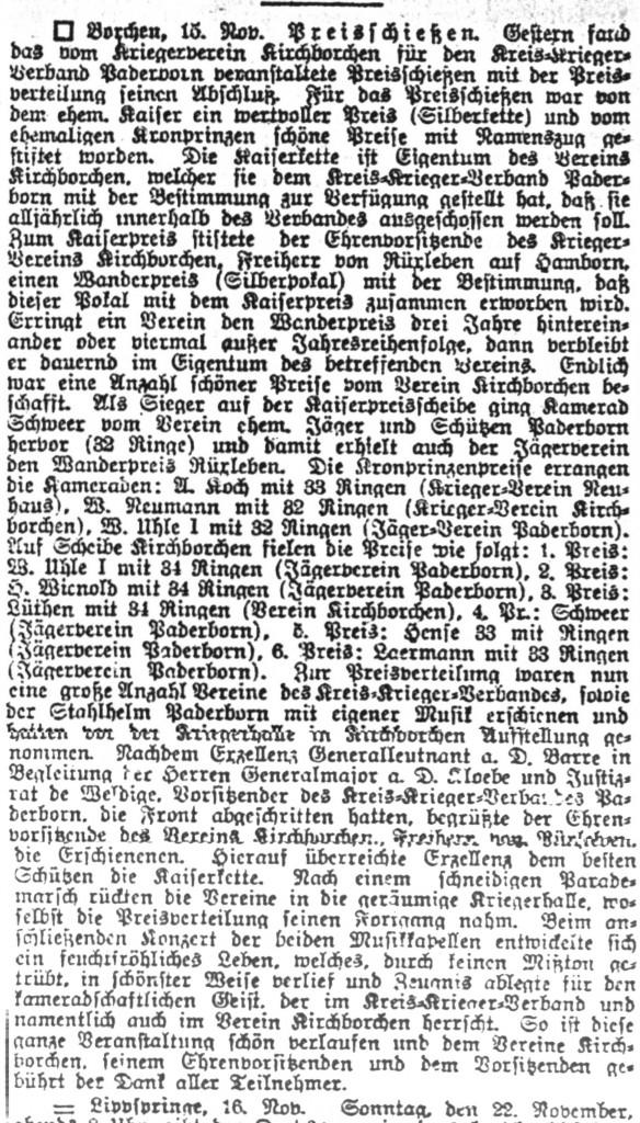 Ausschnitt aus dem Westfälisches Volksblatt vom 19. November 1925: